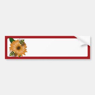 Cartoon Honey Bees Meeting on Orange Flower Bumper Stickers