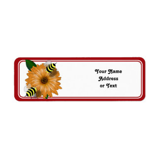 Cartoon Honey Bees Meeting on Orange Flower Label