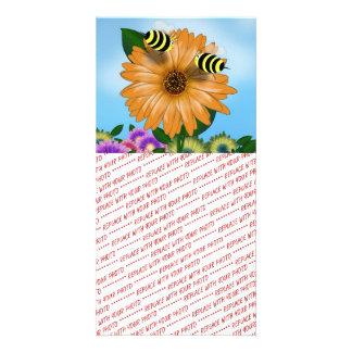 Cartoon Honey Bees Meeting on Orange Flower Picture Card
