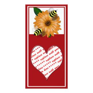Cartoon Honey Bees Meeting on Orange Flower Photo Card Template