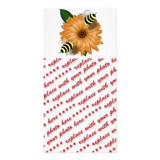 Cartoon Honey Bees Meeting on Orange Flower Photo Card