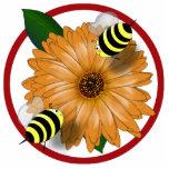 Cartoon Honey Bees Meeting on Orange Flower Photo Cutout
