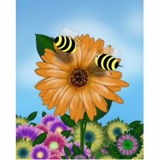 Cartoon Honey Bees Meeting on Orange Flower Acrylic Cut Outs