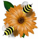 Cartoon Honey Bees Meeting on Orange Flower Photo Cut Out