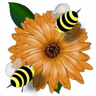 Cartoon Honey Bees Meeting on Orange Flower Photo Cut Out