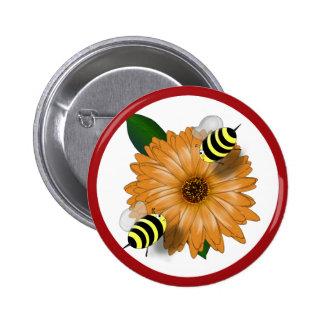 Cartoon Honey Bees Meeting on Orange Flower Pinback Button