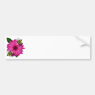 Cartoon Honey Bees Meeting on Pink Flower Bumper Stickers