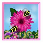 Cartoon Honey Bees Meeting on Pink Flower Cut Out
