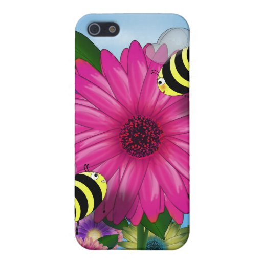 Cartoon Honey Bees Meeting on Pink Flower Cases For iPhone 5