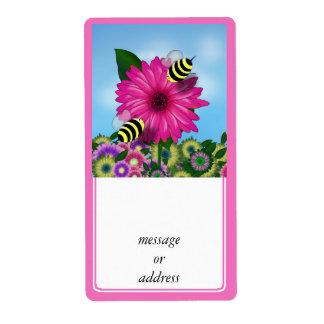 Cartoon Honey Bees Meeting on Pink Flower Label