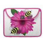 Cartoon Honey Bees Meeting on Pink Flower MacBook Pro Sleeves