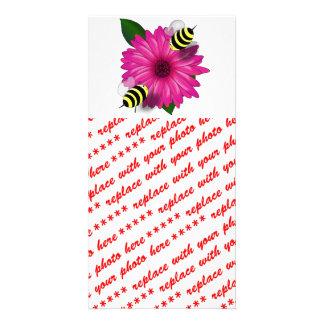 Cartoon Honey Bees Meeting on Pink Flower Customized Photo Card