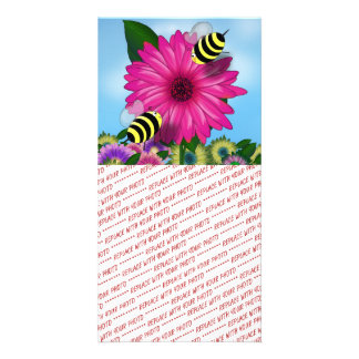Cartoon Honey Bees Meeting on Pink Flower Picture Card
