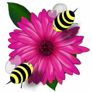 Cartoon Honey Bees Meeting on Pink Flower Photo Cut Out