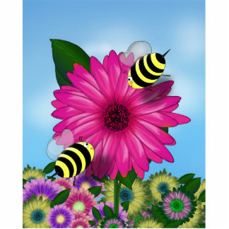 Cartoon Honey Bees Meeting on Pink Flower Cut Outs