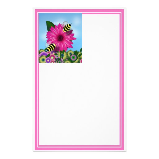 Cartoon Honey Bees Meeting on Pink Flower Stationery Design