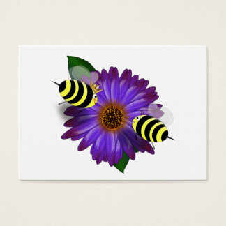 Cartoon Honey Bees Meeting on Purple Flower Business Card
