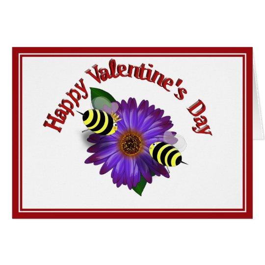 Cartoon Honey Bees Meeting on Purple Flower Card