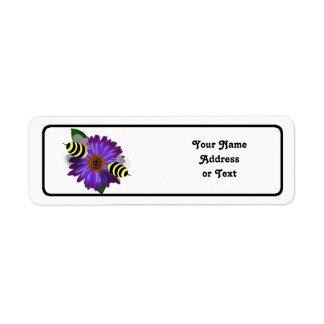 Cartoon Honey Bees Meeting on Purple Flower Label