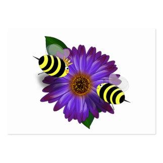 Cartoon Honey Bees Meeting on Purple Flower Large Business Card