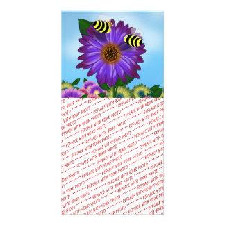 Cartoon Honey Bees Meeting on Purple Flower Custom Photo Card
