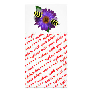 Cartoon Honey Bees Meeting on Purple Flower Photo Cards