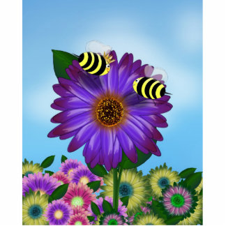 Cartoon Honey Bees Meeting on Purple Flower Photo Cut Outs