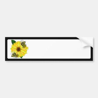 Cartoon Honey Bees Meeting on Yellow Flower Bumper Sticker