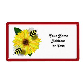 Cartoon Honey Bees Meeting on Yellow Flower Label