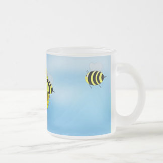 Cartoon Honey Bees Meeting on Yellow Flower 10 Oz Frosted Glass Coffee Mug