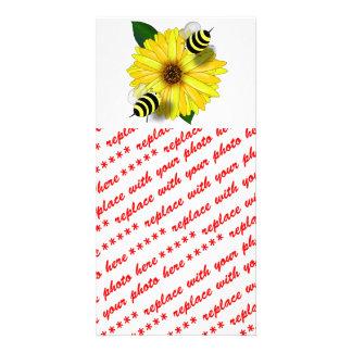 Cartoon Honey Bees Meeting on Yellow Flower Photo Card