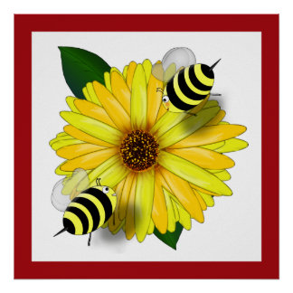 Cartoon Honey Bees Meeting on Yellow Flower Poster