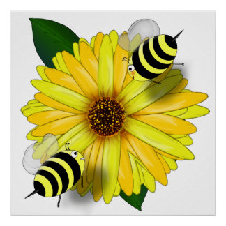 Cartoon Honey Bees Meeting on Yellow Flower Posters