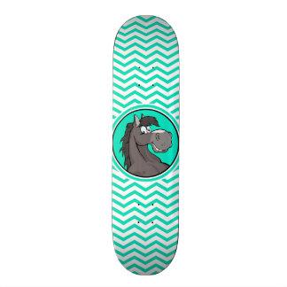 Cartoon Horse; Aqua Green Chevron Skateboard Deck