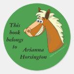 Cartoon Horse Bookplate Template Round Stickers