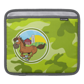 Cartoon Horse; bright green camo, camouflage Sleeve For iPads