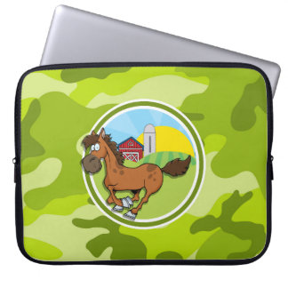Cartoon Horse; bright green camo, camouflage Laptop Computer Sleeve