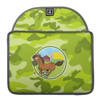 Cartoon Horse; bright green camo, camouflage Sleeves For MacBook Pro
