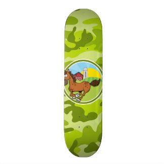 Cartoon Horse; bright green camo, camouflage Custom Skateboard