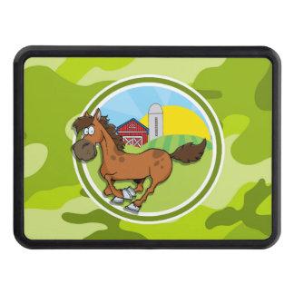 Cartoon Horse; bright green camo, camouflage Trailer Hitch Cover