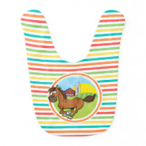 Cartoon Horse; Bright Rainbow Stripes Bib