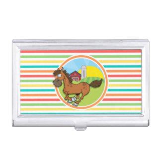 Cartoon Horse; Bright Rainbow Stripes Business Card Holders