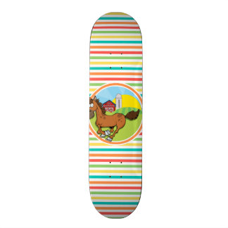 Cartoon Horse; Bright Rainbow Stripes Skateboard