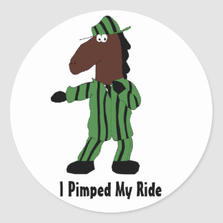 Cartoon Horse In Green Suit Classic Round Sticker