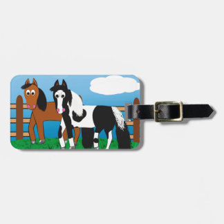 Cartoon horse luggage tag