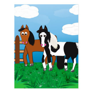 Cartoon horse postcard