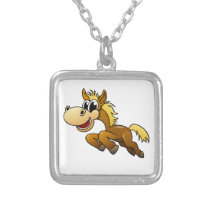 Cartoon Horse Silver Plated Necklace