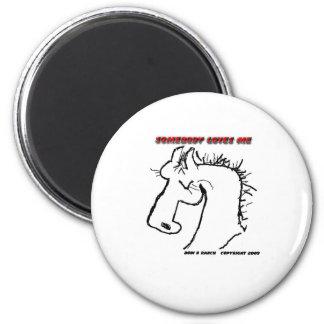 Cartoon Horse: Somebody Loves Me Fridge Magnets