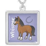Cartoon Horse Square Pendant Necklace
