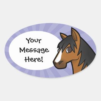 Cartoon Horse Oval Sticker